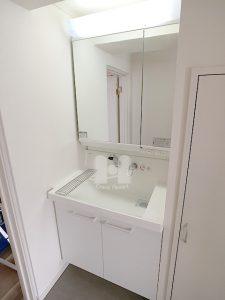 大型鏡の裏側も収納になっていて、収納力たっぷりのドレッサーです。 ハンドシャワー水栓が付いています。