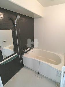 ダークブラウンのアクセントパネルがシックな印象のバスルームです。 シャワーヘッド、水栓金具は新規交換済です。